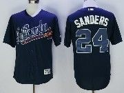 Mens Majestic Mlb Atlanta Braves #24 Deion Sanders Dark Blue Cool Base Baseball Jersey