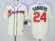 Mens Majestic Mlb Atlanta Braves #24 Deion Sanders Cream Cool Base Baseball Jersey