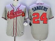 Mens Majestic Mlb Atlanta Braves #24 Deion Sanders Grey Cool Base Baseball Jersey