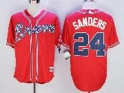 Mens Majestic Mlb Atlanta Braves #24 Deion Sanders Red Cool Base Baseball Jersey
