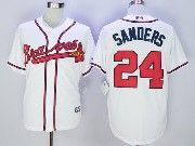 Mens Majestic Mlb Atlanta Braves #24 Deion Sanders White Cool Base Baseball Jersey