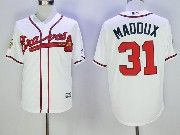 Mens Majestic Mlb Atlanta Braves #31 Greg Maddux White Cool Base Baseball Jersey