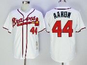 Mens Majestic Mlb Atlanta Braves #44 Hank Aaron White Cool Base Baseball Jersey