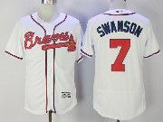 Mens Majestic Mlb Atlanta Braves #7 Dansby Swanson White Flex Base Jersey