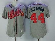 Mens Majestic Atlanta Braves #44 Hank Aaron Grey Flex Base Jersey