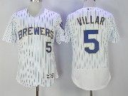 Mens Majestic Mlb Milwaukee Brewers #5 Jonathan Villar White Pinstripe Flex Base Jersey