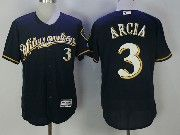 Mens Mlb Milwaukee Brewers #3 Orlando Arcia Blue Cool Base Baseball Jersey