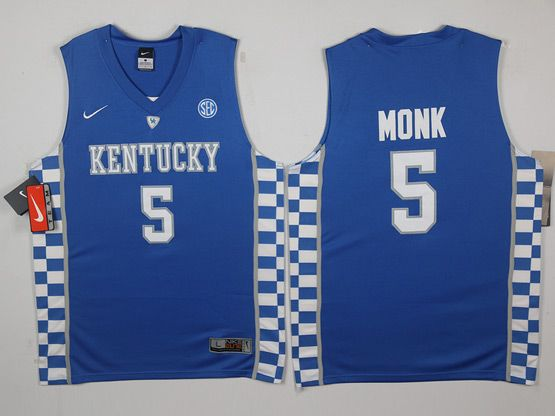 Mens Ncaa Nba Kentucky Wildcats #5 Malik Monk Blue College Basketball Jersey