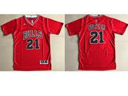 Mens Adidas Nba Chicago Bulls #21 Jimmy Butler Red With Sleeve Basketball Jersey