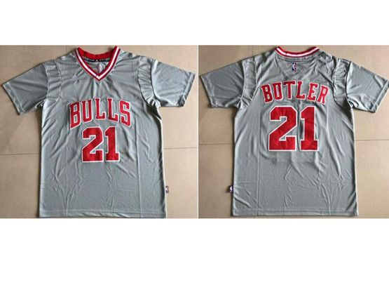 Mens Adidas Nba Chicago Bulls #21 Jimmy Butler Grey With Sleeve Basketball Jersey