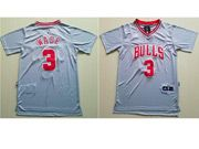 Mens Adidas Nba Chicago Bulls #3 Dwyane Wade Grey With Sleeve Basketball Jersey