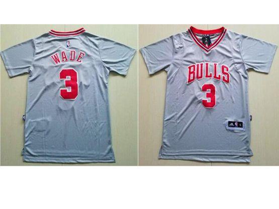 Mens Adidas Nba Chicago Bulls #3 Dwyane Wade Grey With Sleeve Basketball Jersey