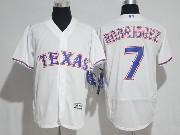 Mens Majestic Mlb Texas Rangers #7 Ivan Rodriguez White Flex Base Jersey