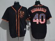 Mens Majestic Mlb San Francisco Giants #40 Madison Bumgarner Sf Black Usa Flag Cool Base Jersey