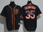 Mens Majestic Mlb San Francisco Giants #35 Brandon Crawford Sf Black Usa Flag Cool Base Jersey