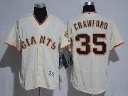Mens Majestic Mlb San Francisco Giants #35 Brandon Crawford Cream Flex Base Jersey
