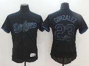 Mens Majestic Los Angeles Dodgers #23 Kirk Gibson Black Ice Flex Base Jersey