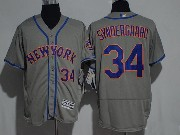 Mens Majestic New York Mets #34 Noah Syndergaard Grey Flex Base Jersey