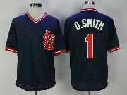 Mens Mlb St. Louis Cardinals #1 Ozzie Smith Bp Navy Blue Throwback Cool Base Jersey