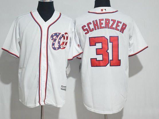 Mens Mlb Washington Nationals #31 Max Scherzer White Cool Base Jersey