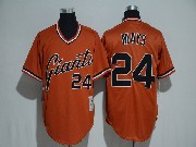Mens Mlb San Francisco Giants #24 Willie Mays Orange Pullover Cool Base Jersey