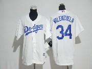 Mens Mlb Los Angeles Dodgers #34 Fernando Valenzuela White Cool Base Jersey