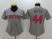 Women Majestic Mlb Chicago Cubs #44 Anthony Rizzo Grey Mother's Day Cool Base Jersey
