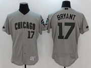 Mens Majestic Mlb Chicago Cubs #17 Kris Bryant Grey 2017 Memorial Day Flex Base Jersey