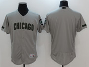 Mens Majestic Mlb Chicago Cubs Blank Grey 2017 Memorial Day Flex Base Jersey