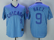 Mens Mlb Chicago Cubs #9 Javier Baez Blue Stripe Pullover Throwbacks Jersey