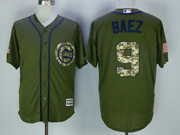 Mens Mlb Chicago Cubs #9 Javier Baez Army Green Salute To Service Jersey