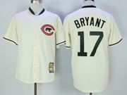 Mens Majestic Mlb Chicago Cubs #17 Kris Bryant Cream Throwback Cool Base Jersey
