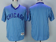 Mens Mlb Chicago Cubs Blank Blue Stripe Pullover Throwbacks Jersey