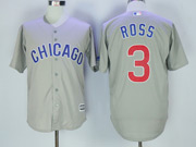 Mens Majestic Mlb Chicago Cubs #3 David Ross Grey Cool Base Jersey