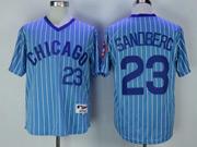 Mens Mlb Chicago Cubs #23 Ryne Sandberg Blue Stripe Pullover Throwbacks Jersey