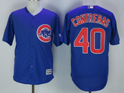 Mens Majestic Mlb Chicago Cubs #40 Willson Contreras Blue Cool Base Jersey