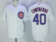 Mens Majestic Mlb Chicago Cubs #40 Willson Contreras White Cool Base Jersey