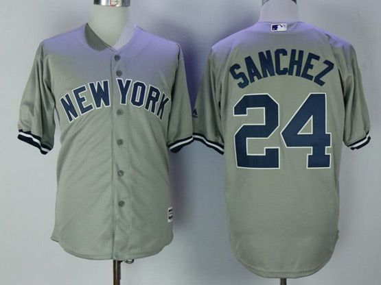 Mens Mlb New York Yankees #24 Gary Sanchez Grey Cool Base Jersey