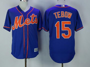 Mens Majestic New York Mets #15 Tim Tebow Blue Cool Base Jersey