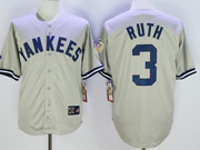 Mens Mlb New York Yankees #3 Babe Ruth Gray With Name 75th Throwback Cool Base Jersey