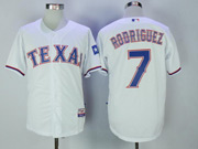 Mens Majestic Mlb Texas Rangers #7 Ivan Rodriguez White Cool Base Jersey