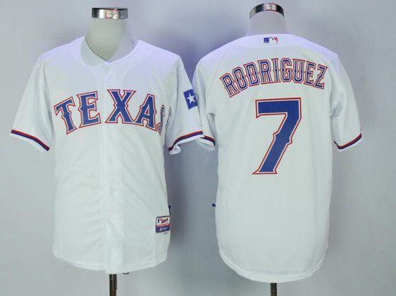 Mens Majestic Mlb Texas Rangers #7 Ivan Rodriguez White Cool Base Jersey