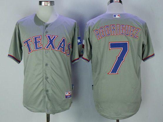 Mens Majestic Mlb Texas Rangers #7 Ivan Rodriguez Grey Cool Base Jersey