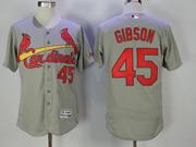 Mens Majestic St.louis Cardinals #45 Bob Gibson Grey Flex Base Jersey