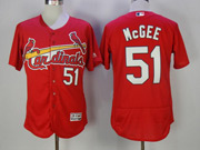 Mens Majestic St.louis Cardinals #51 Willie Mcgee Red Flex Base Jersey