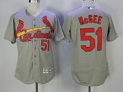 Mens Majestic St.louis Cardinals #51 Willie Mcgee Grey Flex Base Jersey