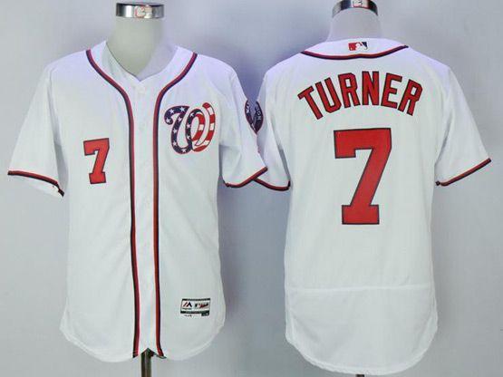 Mens Mlb Washington Nationals #7 Trea Turner White Flex Base Jersey