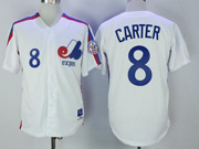 Mens Mlb Montreal Expos #8 Carter White Throwbacks Cool Base Jersey