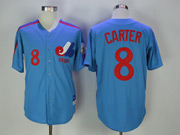 Mens Mlb Montreal Expos #8 Carter Blue Throwbacks Cool Base Jersey