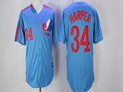 Mens Mlb Montreal Expos #34 Bryce Harper Blue Throwbacks Cool Base Jersey